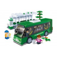 Single Decker Bus (Green) with Bus Stop