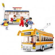 Bus (Single Decker, Orange) with Bus Stop!
