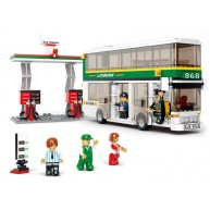 Bus (Double Decker, White) with Gas Station