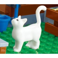 White Cat Standing with Black Eyes Pattern
