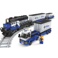 Diesel Heavy Freight Locomotive with 2 Well Cars and 1 Truck