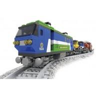 Electric Freight Train Engine Locomotive with Tank Car & Vehicle Flatcar / Autorack