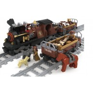 Steam Locomotive with 2 Flatcars w/Stake Sides & Zoo Animal Load